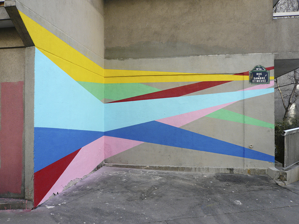 France Dubois Peinture murale Wall drawing Paris Diffraction